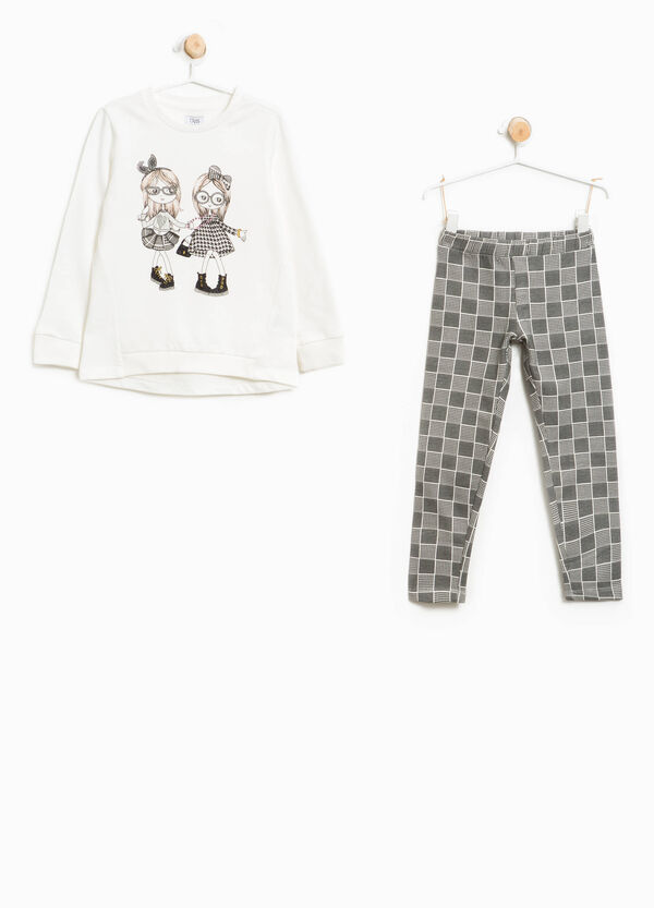 Cotton tracksuit with check pattern and print | OVS
