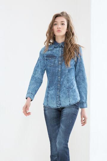 Camicia di jeans cuciture contrasto