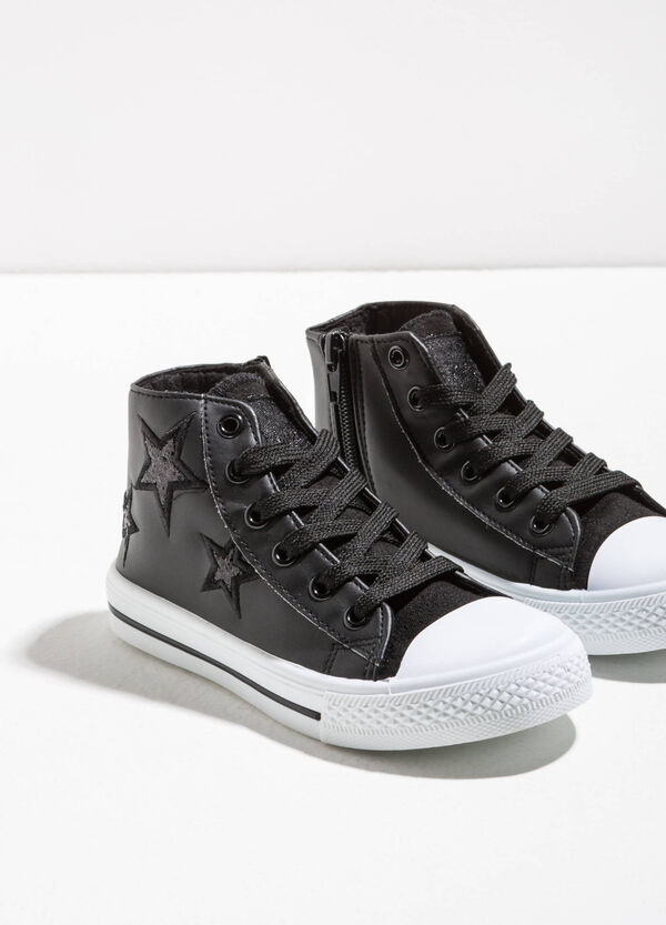 High-top sneakers with glitter stars | OVS