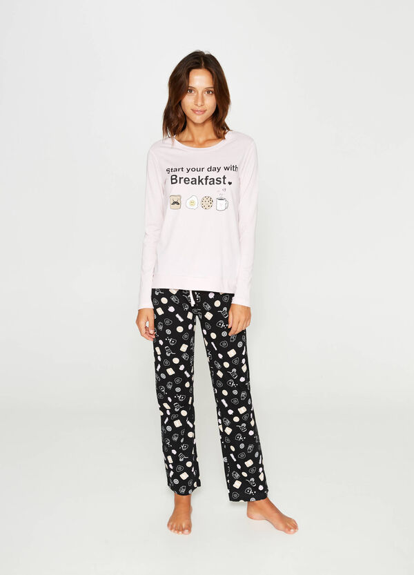 Cotton pyjamas with lettering print | OVS