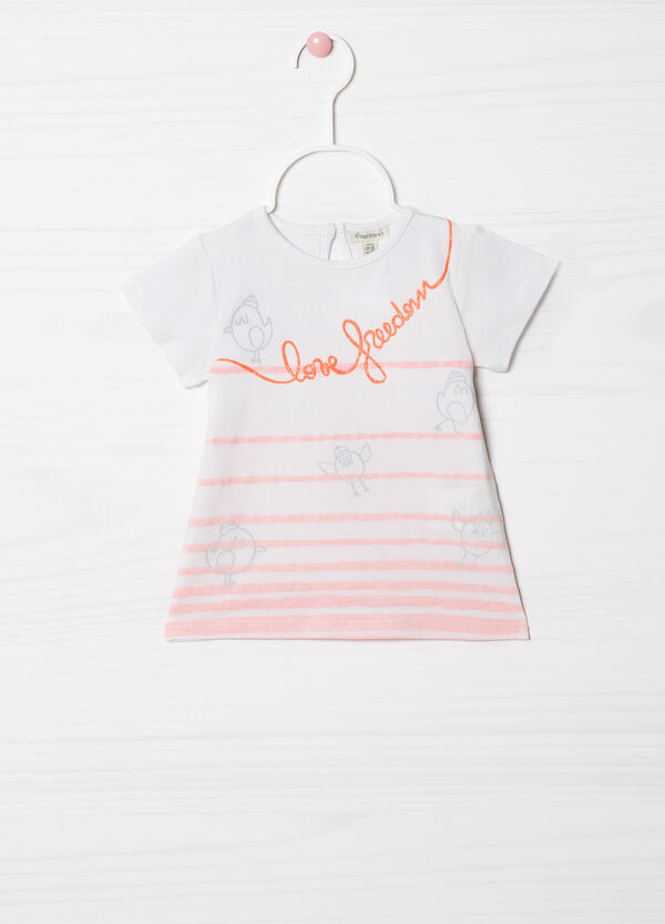 T-shirt stretch con righe e stampa | OVS