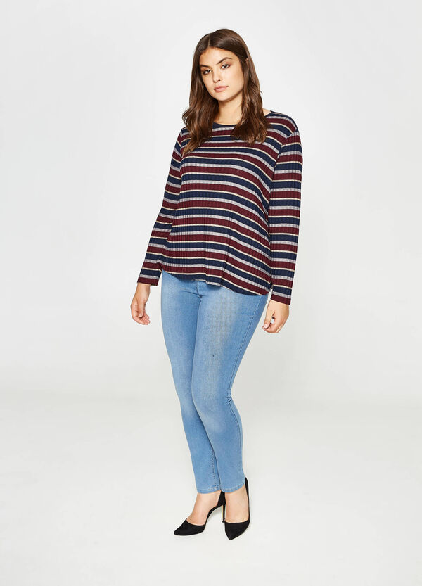 Curvy striped viscose pullover | OVS