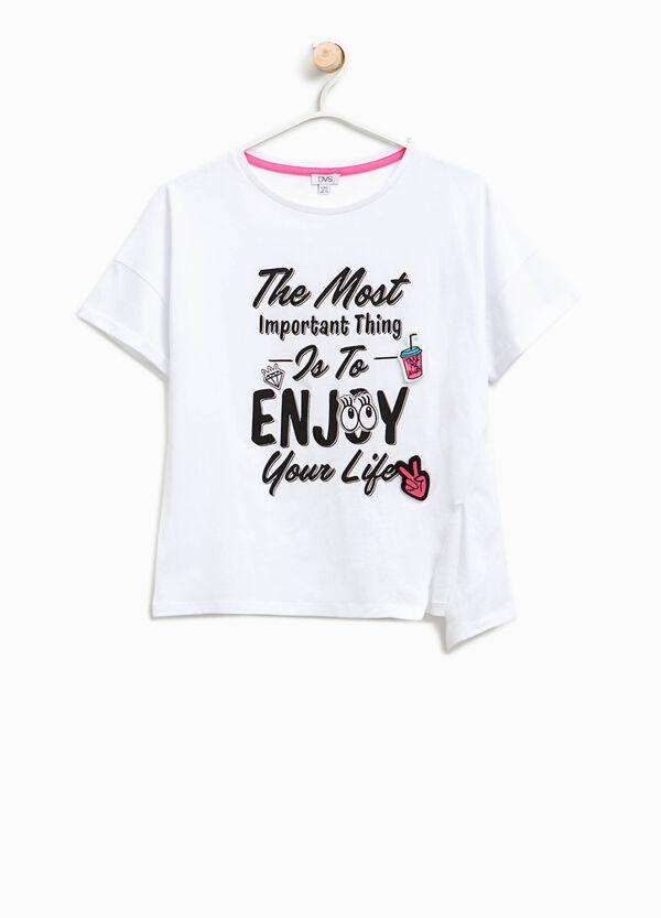 T-shirt con spacco e stampa lettering | OVS