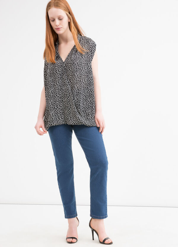 Curvy patterned sleeveless blouse | OVS