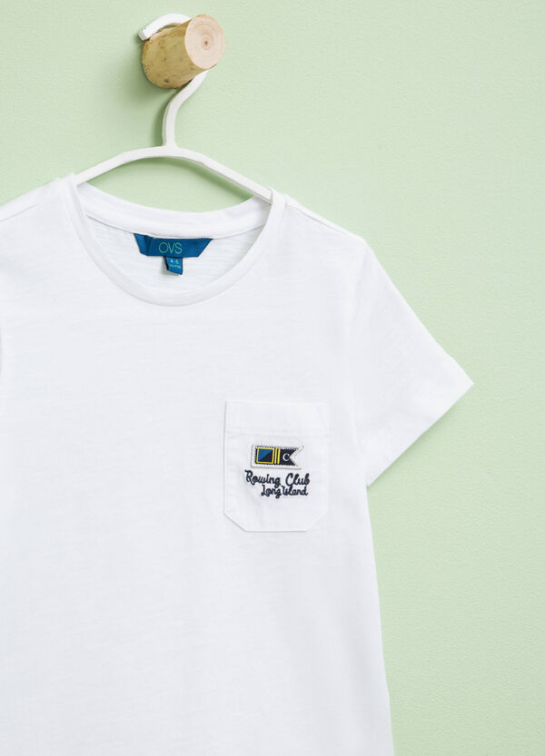 Cotton T-shirt with patch and embroidery   OVS