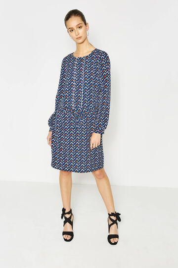 Dress with bow and all-over print