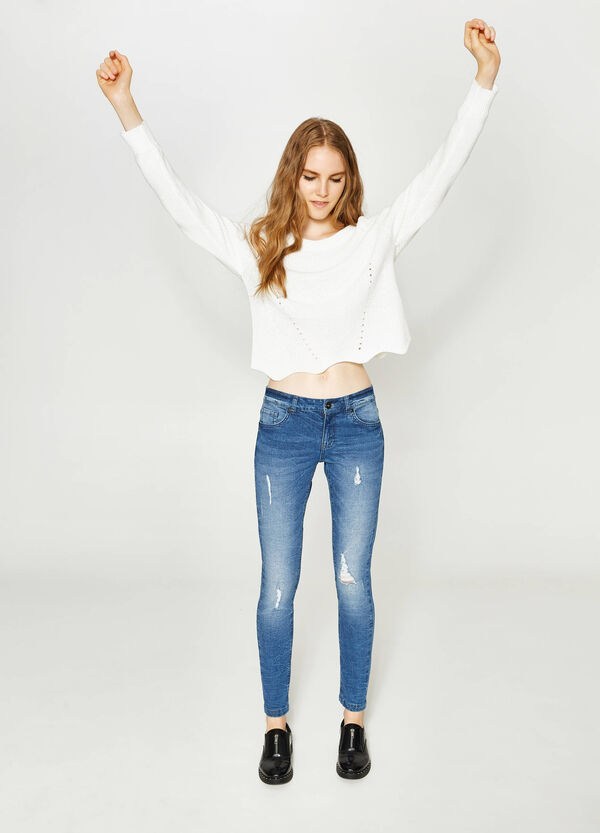 Jeans skinny fit stretch con strappi | OVS