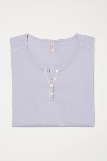 Curvy cotton pyjama top with buttons