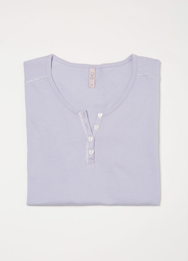 Curvy cotton pyjama top with buttons | OVS