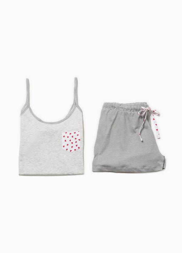 Pigiama top e shorts righe e cuori | OVS