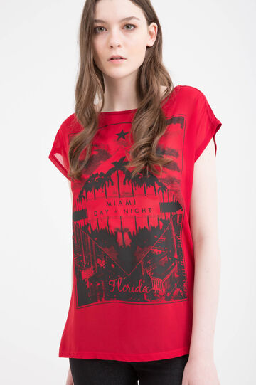 Semi-transparent T-shirt with print