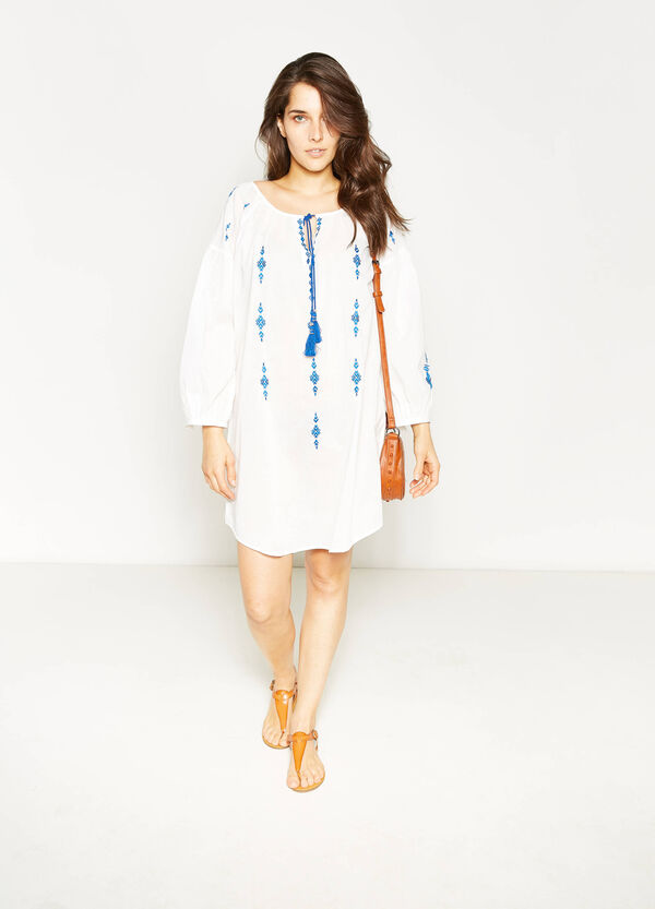 Curvy embroidered dress with tassels | OVS