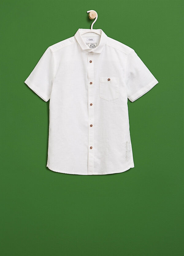 Embroidered linen and cotton shirt | OVS