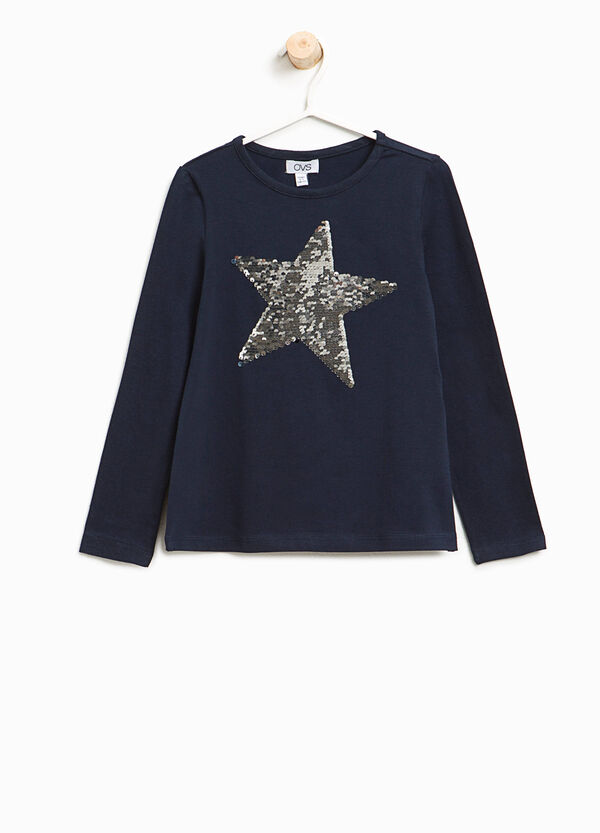 Stretch T-shirt with star sequins | OVS