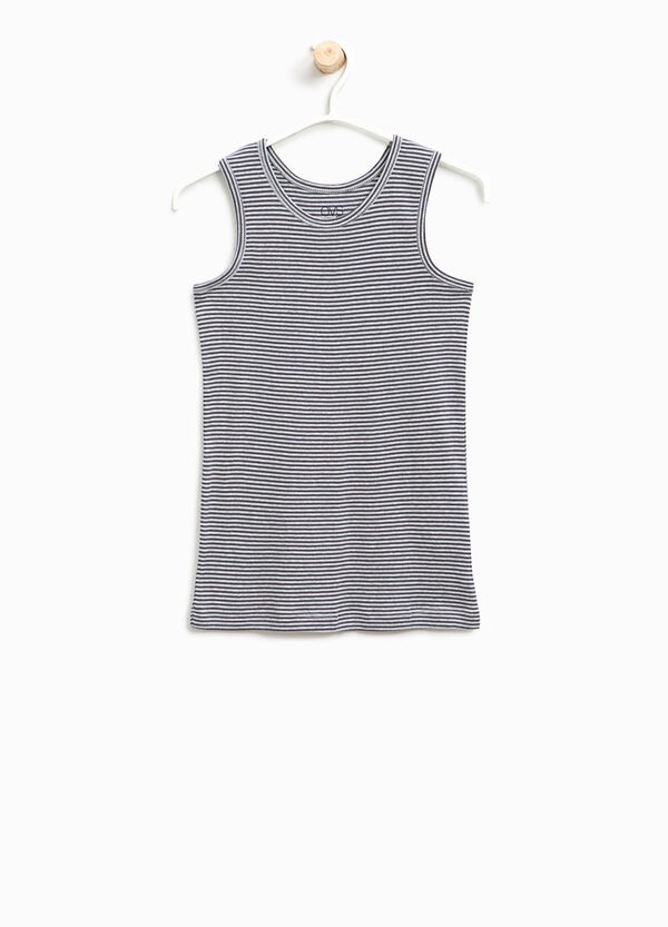 Striped organic cotton under vest | OVS