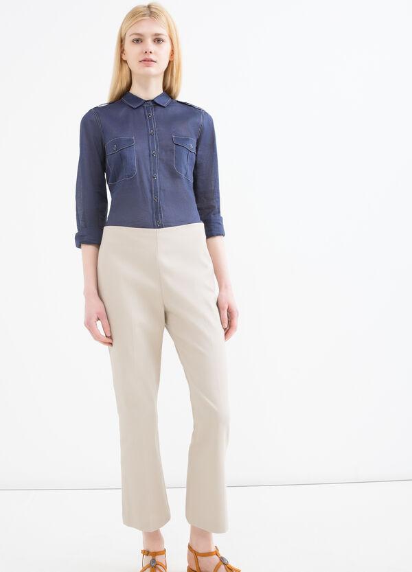 Pantaloni cotone stretch con zip | OVS
