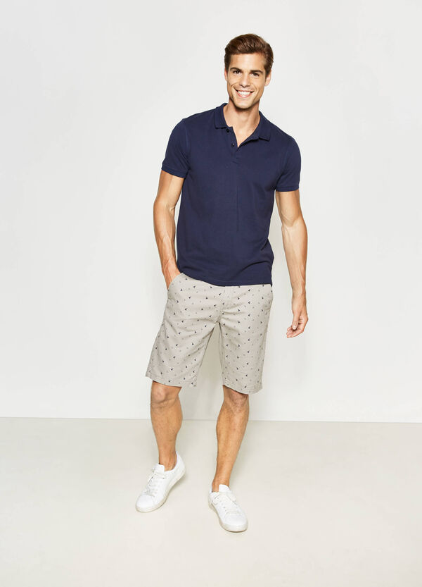 Regular-fit, stretch patterned chino Bermuda shorts | OVS