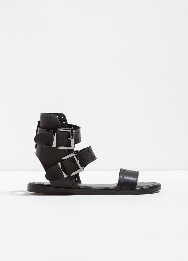 Sandals with openwork bands on the upper | OVS
