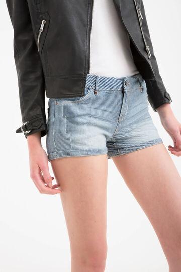 Shorts di jeans stretch a righe