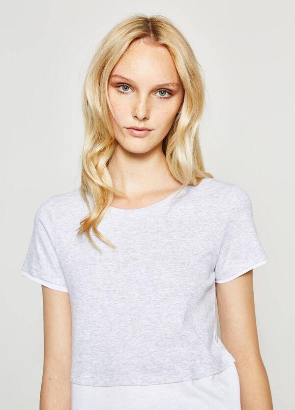Faux layered cotton T-shirt | OVS
