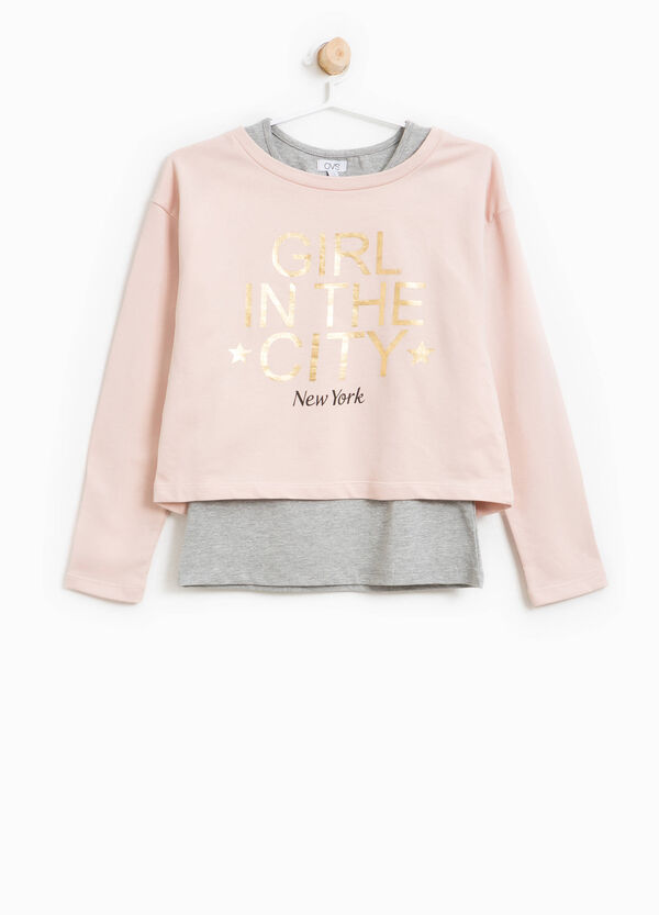 Crop sweatshirt in cotton with printed lettering | OVS