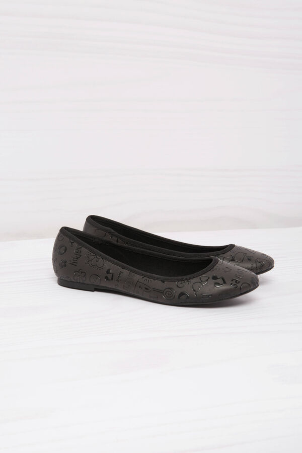 Leather look ballerina flats with print | OVS