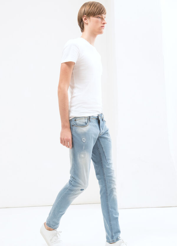 Skinny fit jeans with stitching in contrasting colour | OVS