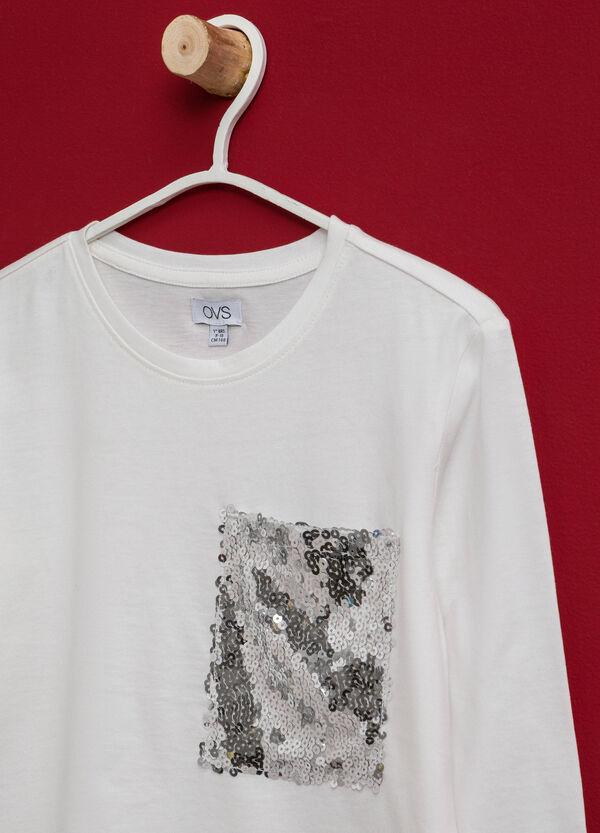 T-shirt in cotone taschino di paillettes | OVS