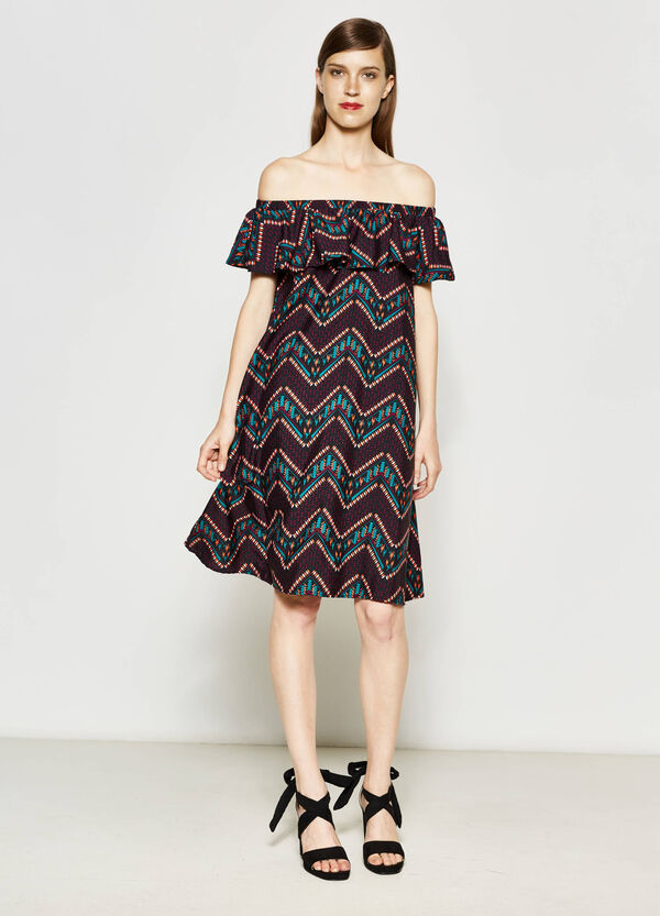 Patterned dress with boat-neck | OVS