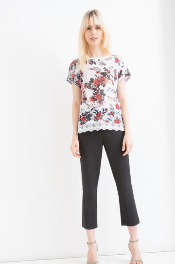 Stretch T-shirt with floral pattern