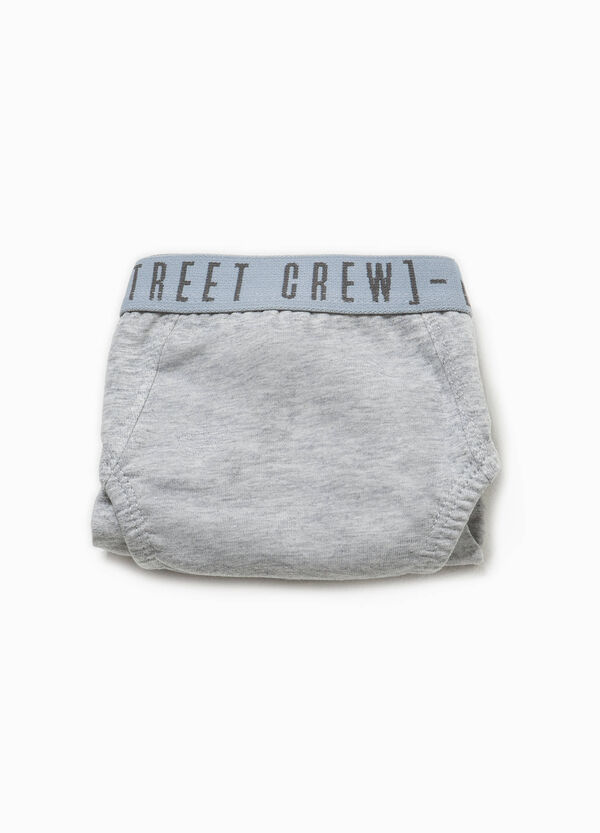 Briefs in stretch cotton with printed lettering | OVS