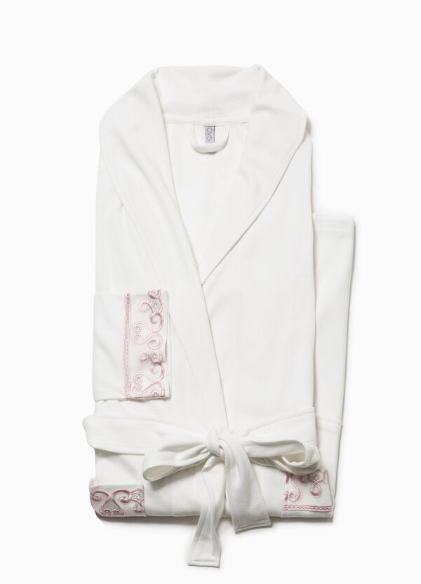 Cotton dressing gown with embroidery | OVS