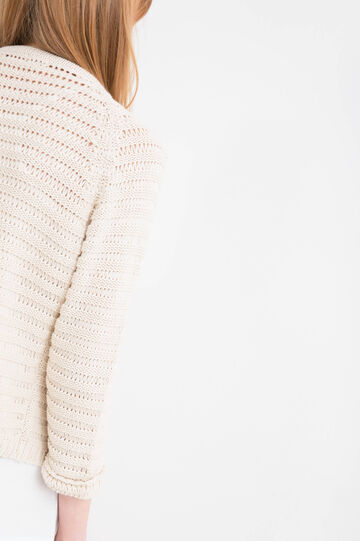 Knitted cardigan in 100% cotton.