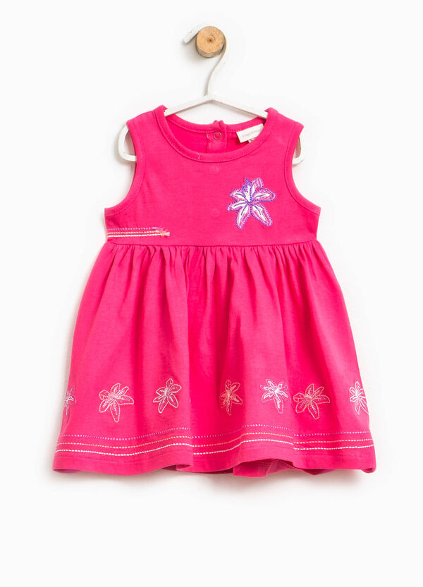 Sleeveless cotton dress with embroidery | OVS