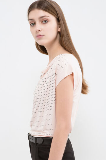 Stretch viscose diamanté T-shirt