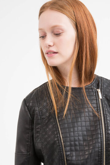 Quilted leather look Curvy jacket