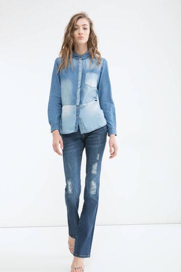 Blusa di jeans effetto used