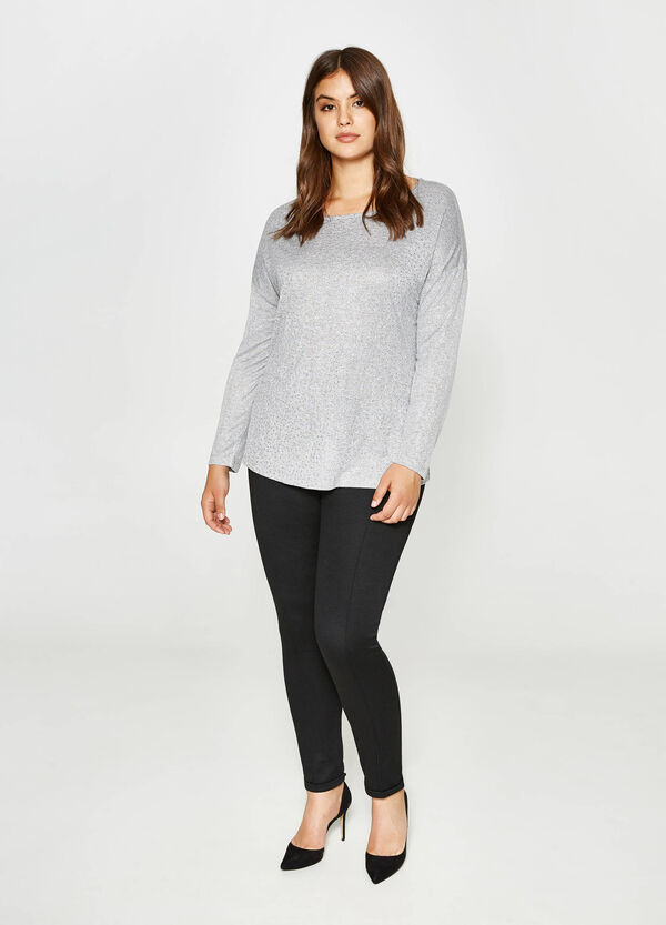 Curvy shiny T-shirt in glittery viscose | OVS