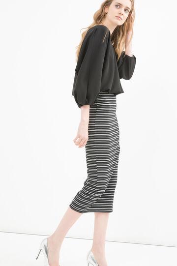 Stretch cotton striped pencil skirt