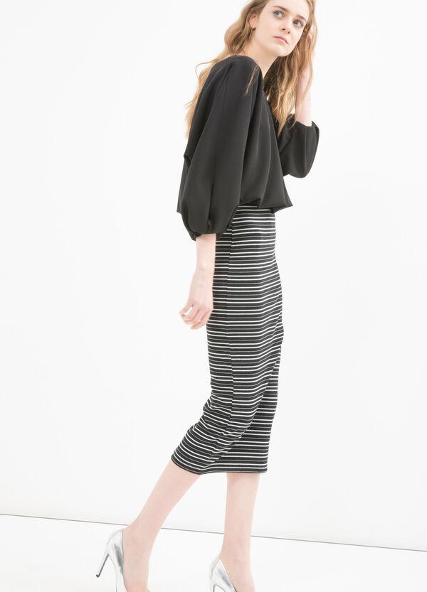 Stretch cotton striped pencil skirt | OVS