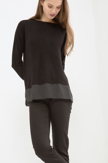 Knitted pullover with polka dot pattern