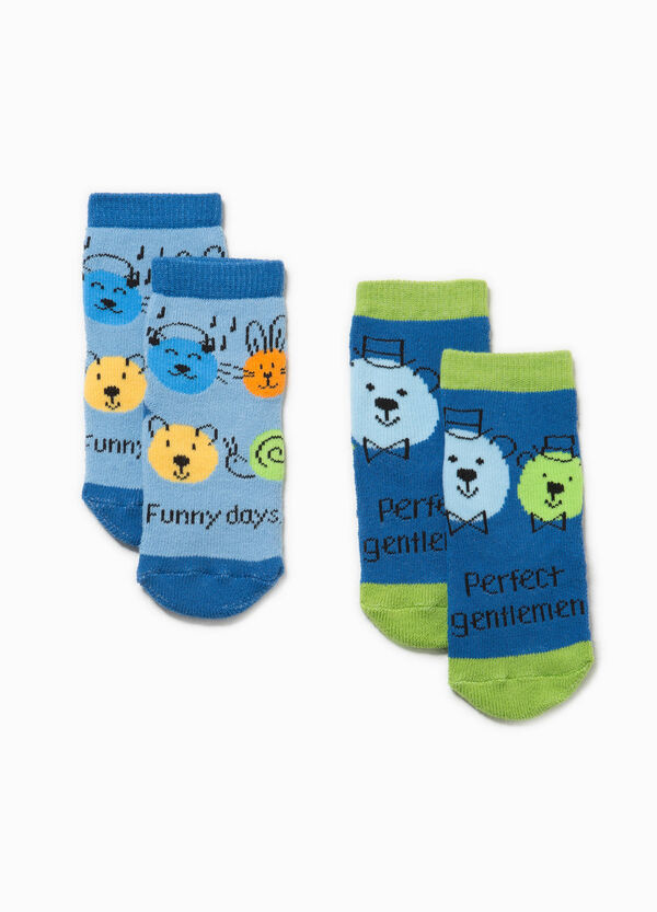 Two-pair pack slipper socks with embroidery | OVS