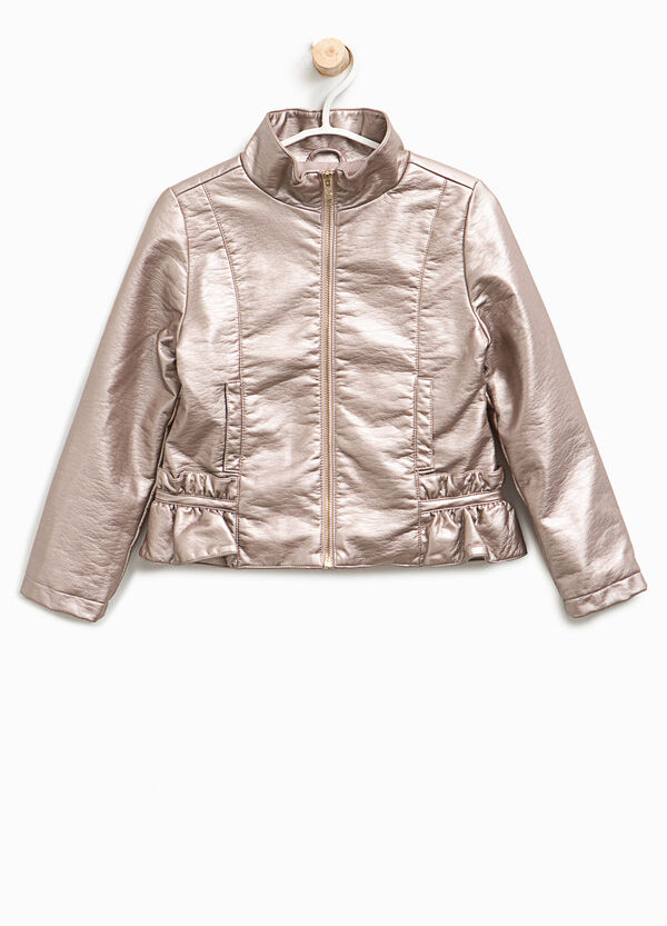Leather-look jacket with high neck | OVS