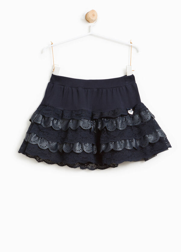Skirt with flounces, lace and openwork | OVS