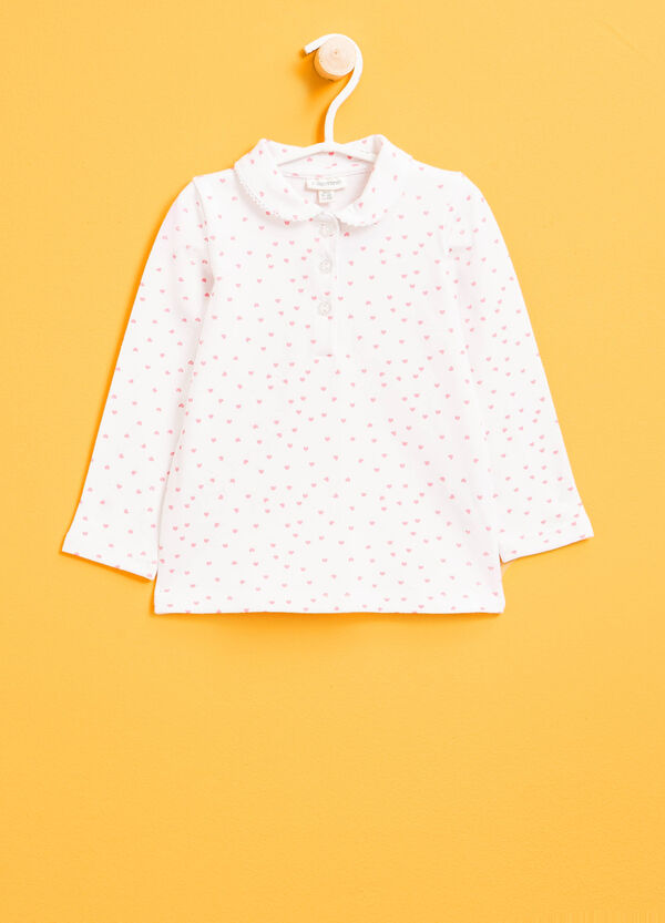 Polo shirt in stretch cotton with hearts pattern | OVS