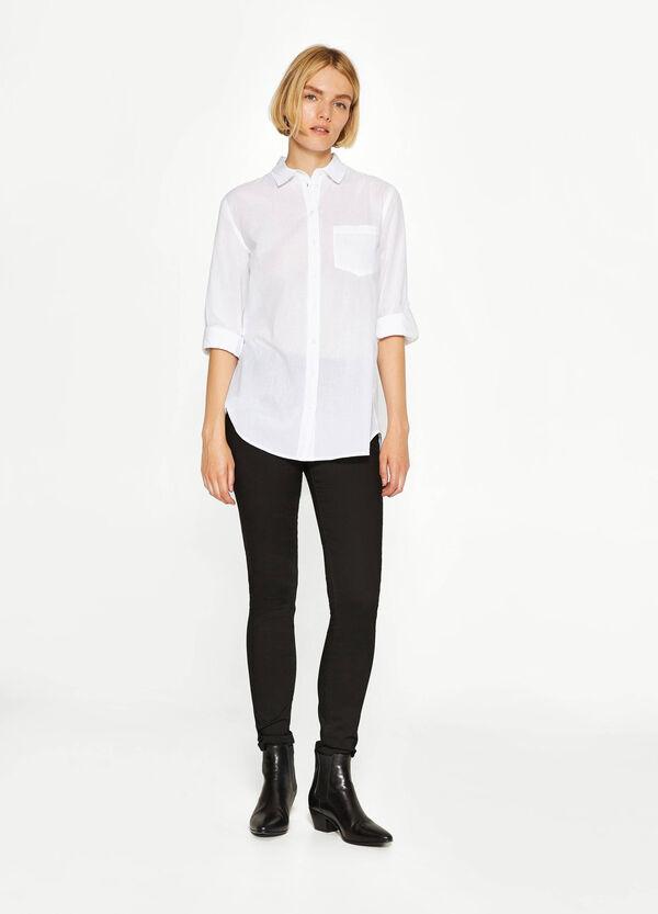 Camicia in cotone con trama a righe | OVS
