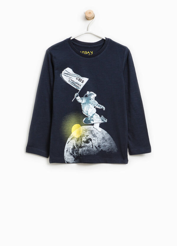 T-shirt in cotone con maxi stampa   OVS