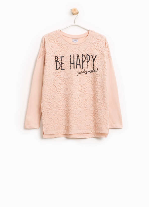 T-shirt in cotone con pizzo stampato | OVS