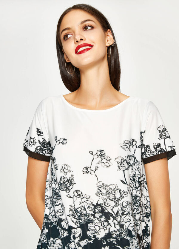 Stretch T-shirt with floral print | OVS