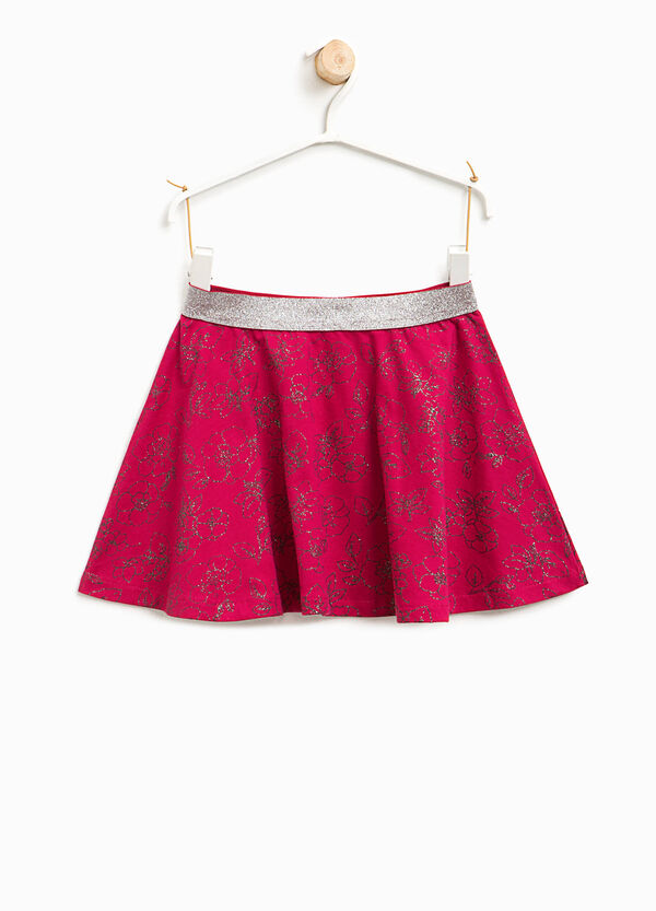 Skirt with glitter print | OVS